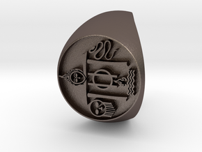 Custom Signet Ring 18 in Polished Bronzed Silver Steel