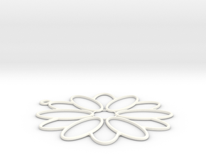 Flower Shape Charm in White Strong & Flexible Polished