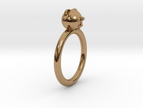 Bear Head Ring in Polished Brass