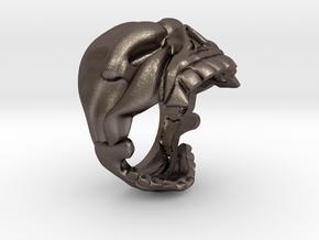 Reaper Skull Bottle Opener Ring size 11 in Polished Bronzed Silver Steel