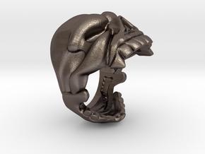 Reaper Skull bottle opener ring size 6 in Polished Bronzed Silver Steel
