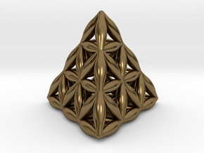 Flower Of Life Tetrahedron in Polished Bronze
