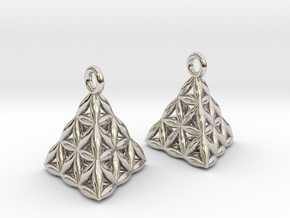Flower Of Life Tetrahedron Earrings in Rhodium Plated Brass