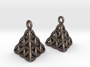 Flower Of Life Tetrahedron Earrings in Polished Bronzed Silver Steel