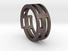 Geometri-K ring (52) in Polished Bronzed Silver Steel