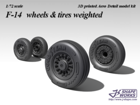 1/72 F-14 wheels  & tires weighted (2 set) in Smooth Fine Detail Plastic