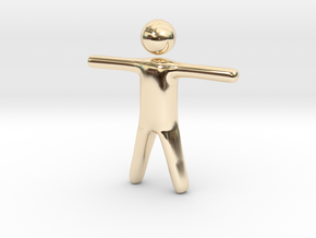 Stickman in 14k Gold Plated Brass