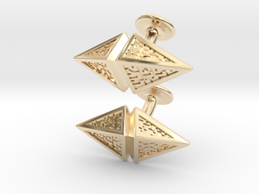 Zendikar Hedron Cufflinks in 14k Gold Plated Brass
