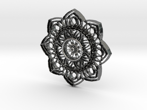 Floral  Pendant  #3 in Fine Detail Polished Silver