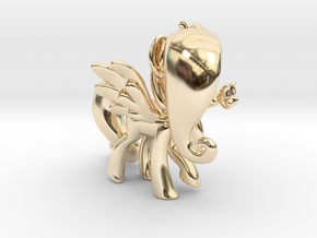 Fluttershy 1 Full Color - M1 in 14k Gold Plated Brass