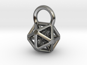Icosahedron Frame Pendant in Polished Silver