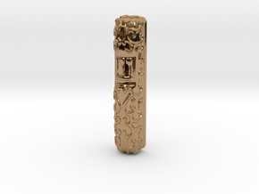 Mezuzah Case, Scrollwork A in Polished Brass