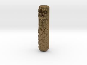 Mezuzah Case, Scrollwork A in Polished Bronze