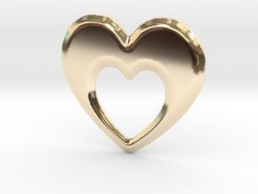 Heart within a Heart in 14k Gold Plated Brass