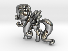 Fluttershy 1 Full Color - XS in Fine Detail Polished Silver