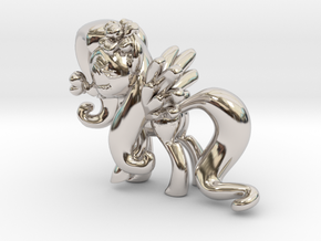 Fluttershy 1 Full Color - XS in Rhodium Plated Brass