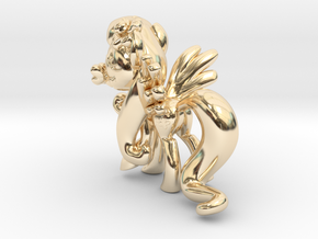 Fluttershy 1 Full Color - S1 in 14k Gold Plated Brass