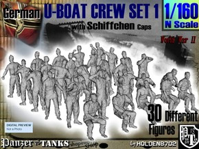 1-160 German U-Boot Crew Set1 in Smooth Fine Detail Plastic