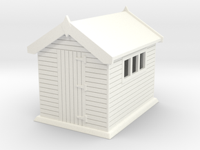 Garden shed 01. HO Scale (1:87) in White Strong & Flexible Polished