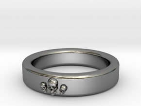 Smooth Anatomical Skull Ring in Fine Detail Polished Silver