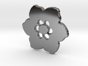 Happy Flower Pendant in Fine Detail Polished Silver
