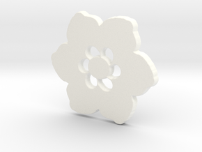 Happy Flower Pendant in White Strong & Flexible Polished