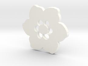 Happy Flower Pendant in White Processed Versatile Plastic