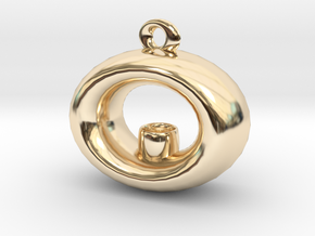 Candle Holder Pendant in 14k Gold Plated Brass