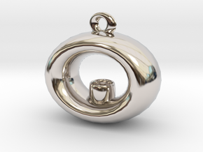 Candle Holder Pendant in Rhodium Plated Brass