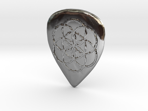 Seed of Life Guitar Pick in Fine Detail Polished Silver