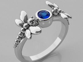 Dragonfly Ring in Rhodium Plated Brass
