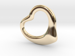 Open Heart Pandent, large in 14k Gold Plated Brass