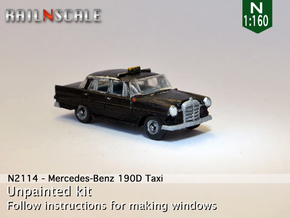 Mercedes-Benz 190D Taxi (N 1:160) in Smooth Fine Detail Plastic