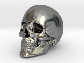 Human Skull in Polished Silver