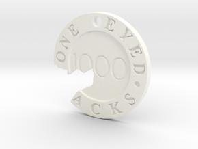 One Eyed Jacks Broken Poker Chip (1-Sided) in White Processed Versatile Plastic