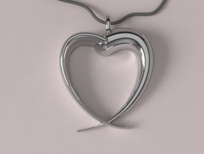 Corazon Dos Piezas E in Polished Silver