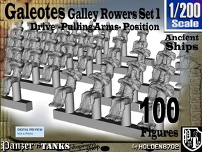 1-200 Galley Rower-Drive-Set 1 in Smoothest Fine Detail Plastic