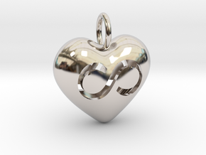 Hollow Infinity Heart Pendant in Rhodium Plated Brass