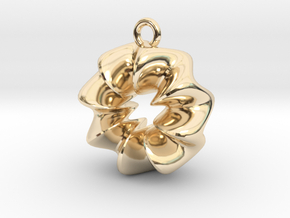 Wavy Ring Pendant in 14k Gold Plated Brass