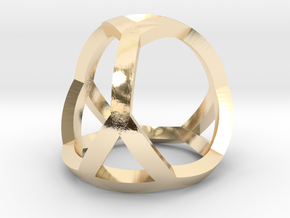 0405 Spherical Truncated Tetrahedron #001 in 14k Gold Plated Brass