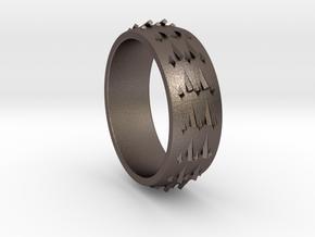 RidgeBack Ring Size 6 in Polished Bronzed Silver Steel