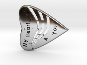 HEART 3- My Heart Sings 4 you with musical Staff & in Fine Detail Polished Silver