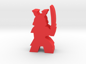 Game Piece, Samurai, with sword ready in Red Processed Versatile Plastic