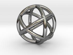 0402 Spherical Cuboctahedron (d=2.2cm) #002 in Fine Detail Polished Silver