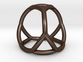 0406 Spherical Truncated Tetrahedron #002 in Polished Bronze Steel