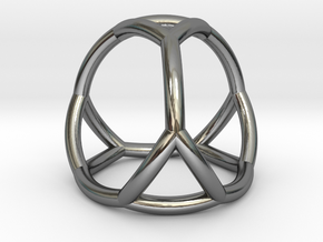 0406 Spherical Truncated Tetrahedron #002 in Fine Detail Polished Silver