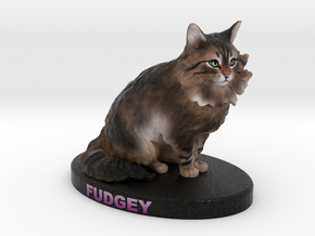 Custom Cat Figurine - Fudgey in Full Color Sandstone