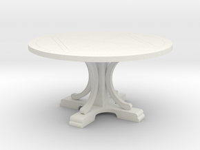 Decorative Round Table in White Natural Versatile Plastic: 1:48
