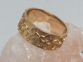 Plumeria Flower Ring Size 8 in 14k Gold Plated Brass