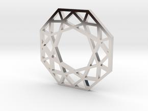 octagon.charm in Rhodium Plated Brass